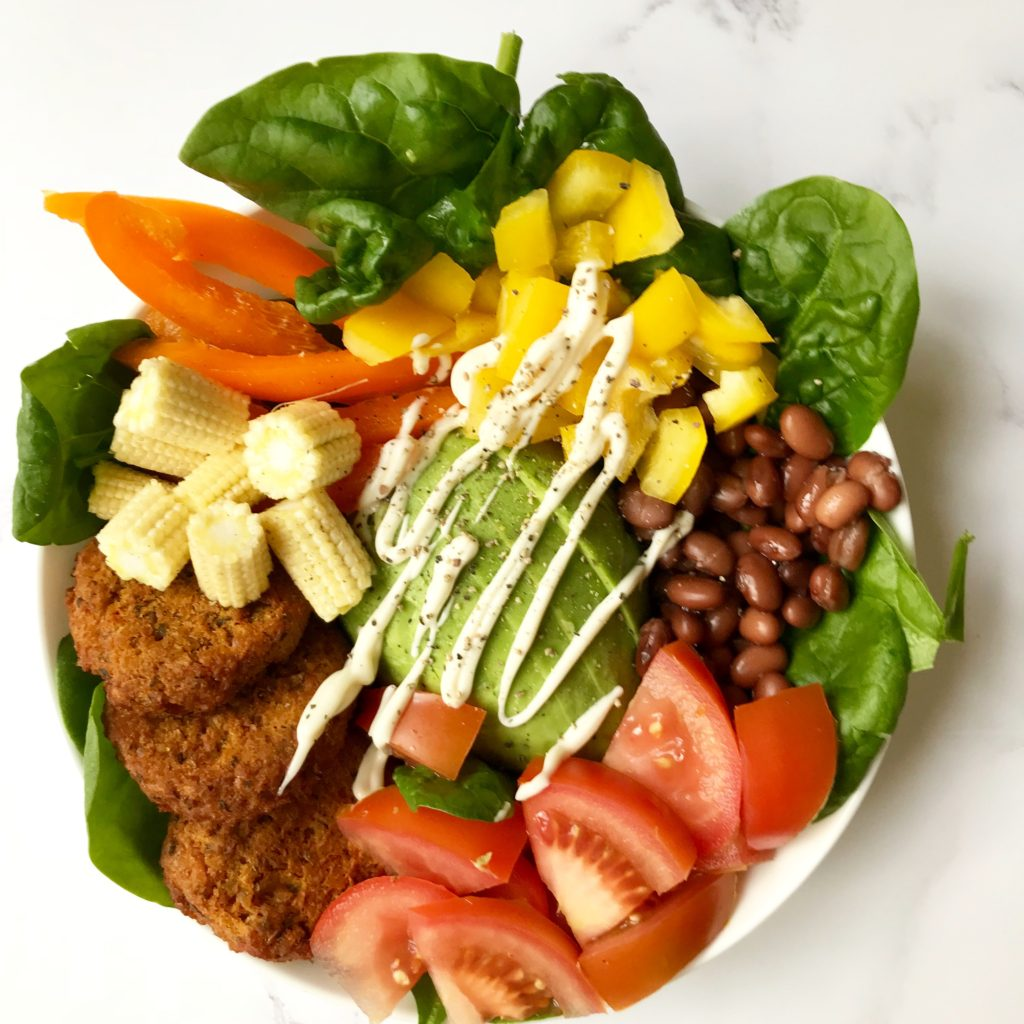 A healthy and nutritious salad as part of a plant-based diet to help improve exercise performance and recovery
