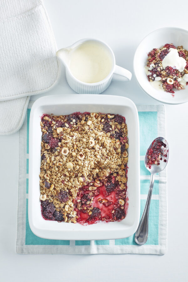 Blackberry and Hazelnut Crumble