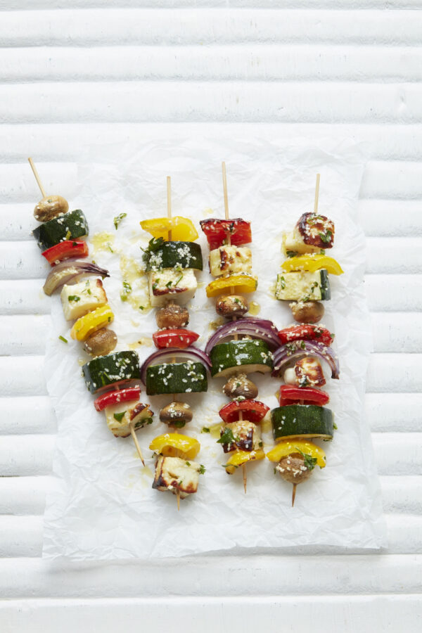 Halloumi, Vegetable and Sesame Skewers